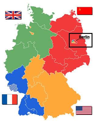 Carte Allemagne Occupee 1945.Berlin L Est Rencontre L Ouest Chatelaine