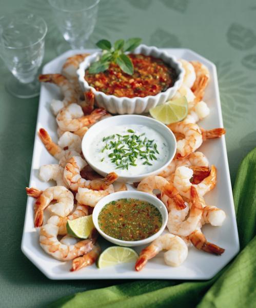 Crevettes et trio de sauces