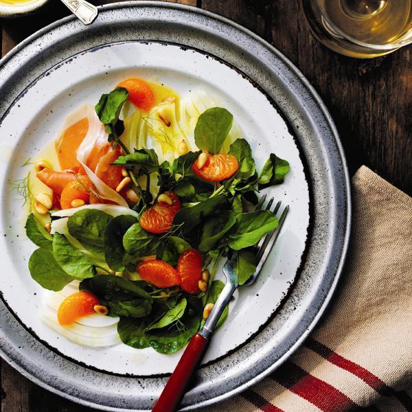 Salade de cresson, fenouil et mandarines