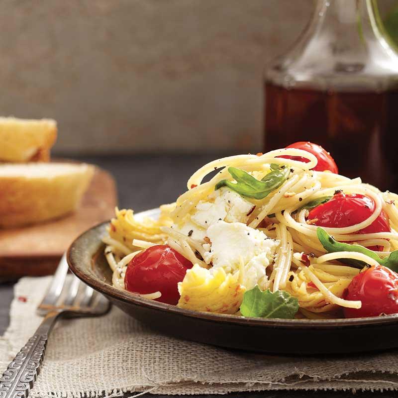 Spaghettinis-Tomates-Artichauts-Chevre