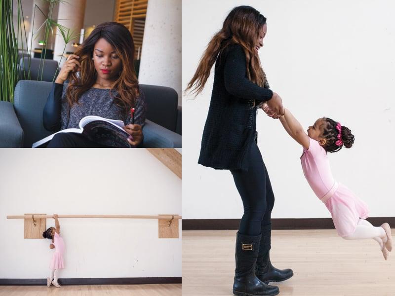 Tania, pimpante ballerine de 3 ans, avec sa maman, Vania Codio, qui poursuit des études universitaires.