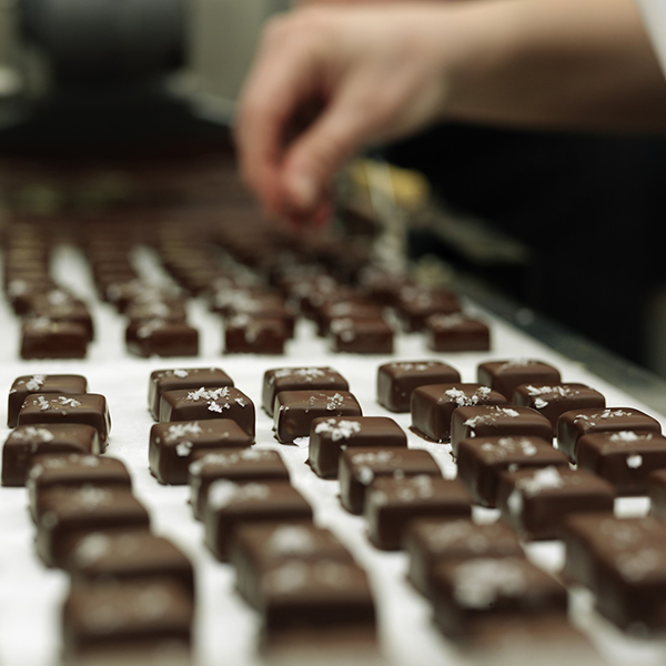 Preparation of chocolates in bakery