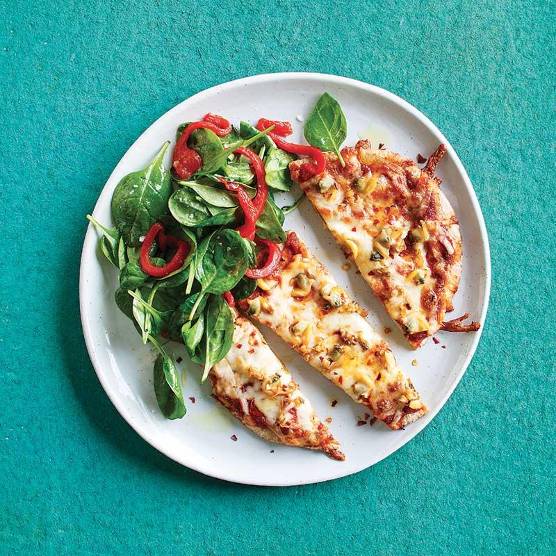 Pizza-Pita-Salade-Epinards