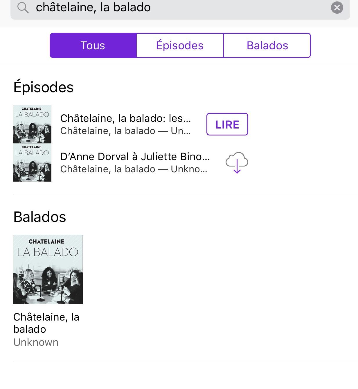 châtelaine balado podcast