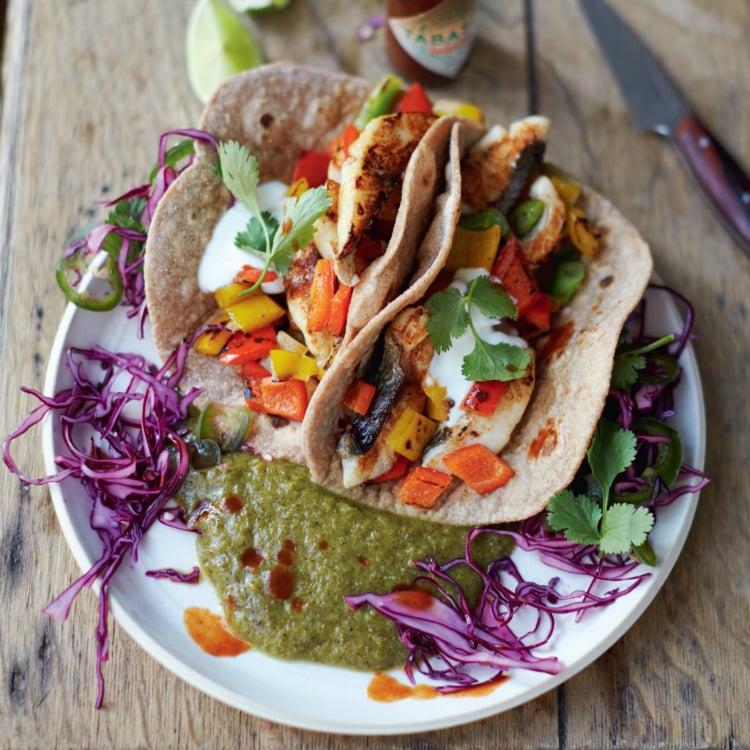 Tacos au poisson, kiwi et lime, de Jamie Oliver