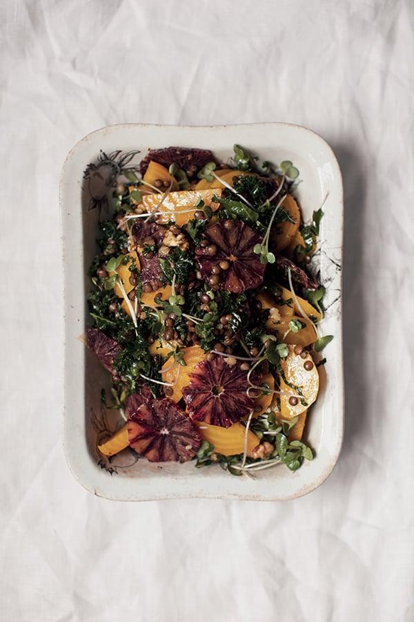 Salade de betteraves jaunes, oranges sanguines et lentilles