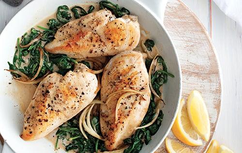 Poitrines de poulet à la florentine