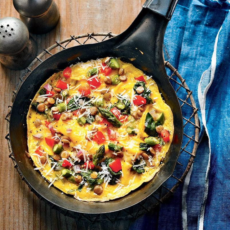 Omelette aux légumes et aux lentilles