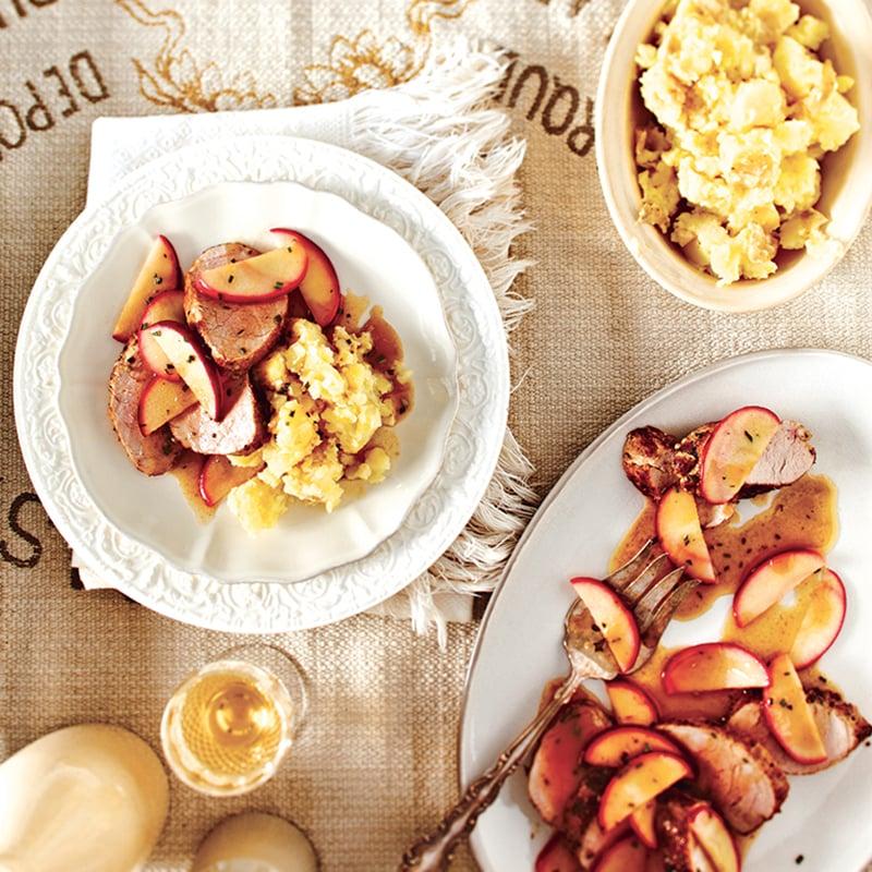 Filets de porc rôtis et pommes au brandy