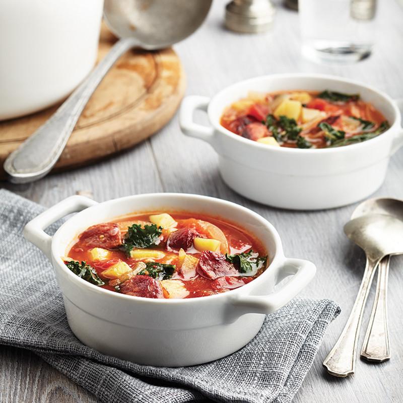 Soupe-repas au chorizo et au chou frisé