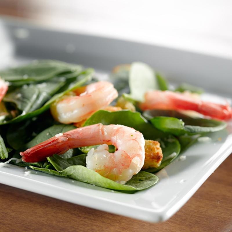 Salade de crevettes et d'épinards