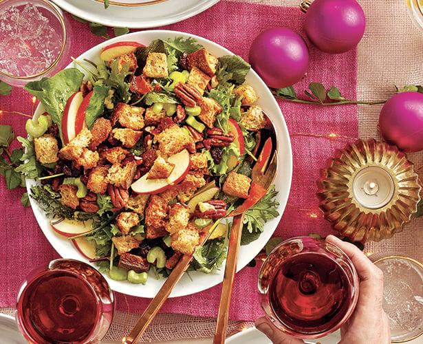 Salade des fêtes  au bacon et aux croûtons
