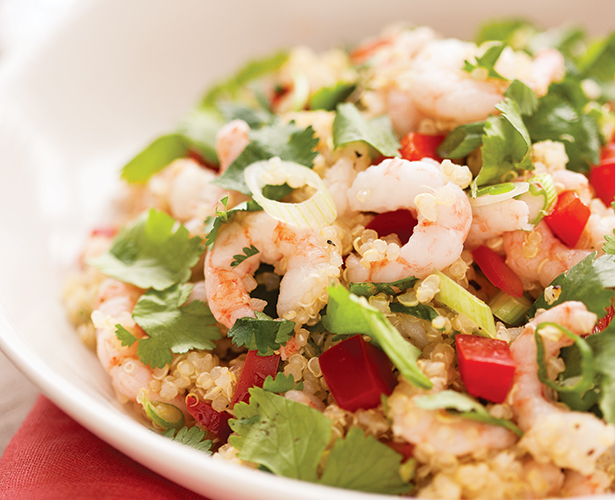 Salade de quinoa aux crevettes nordiques et à la coriandre