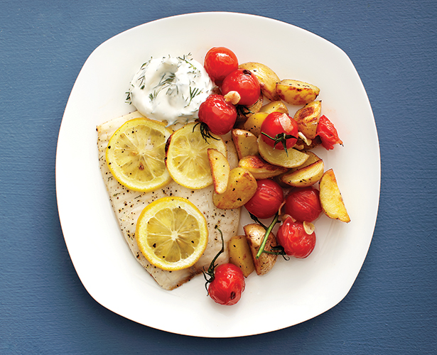Filets de poisson, sauce crémeuse à l'aneth