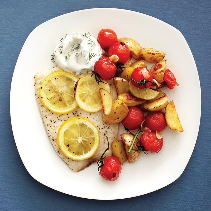 Lundi: Filets de poisson, sauce crémeuse à l'aneth