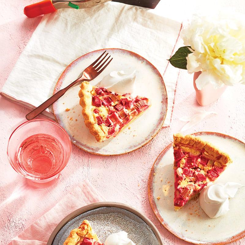 Tarte à la crème à la rhubarbe